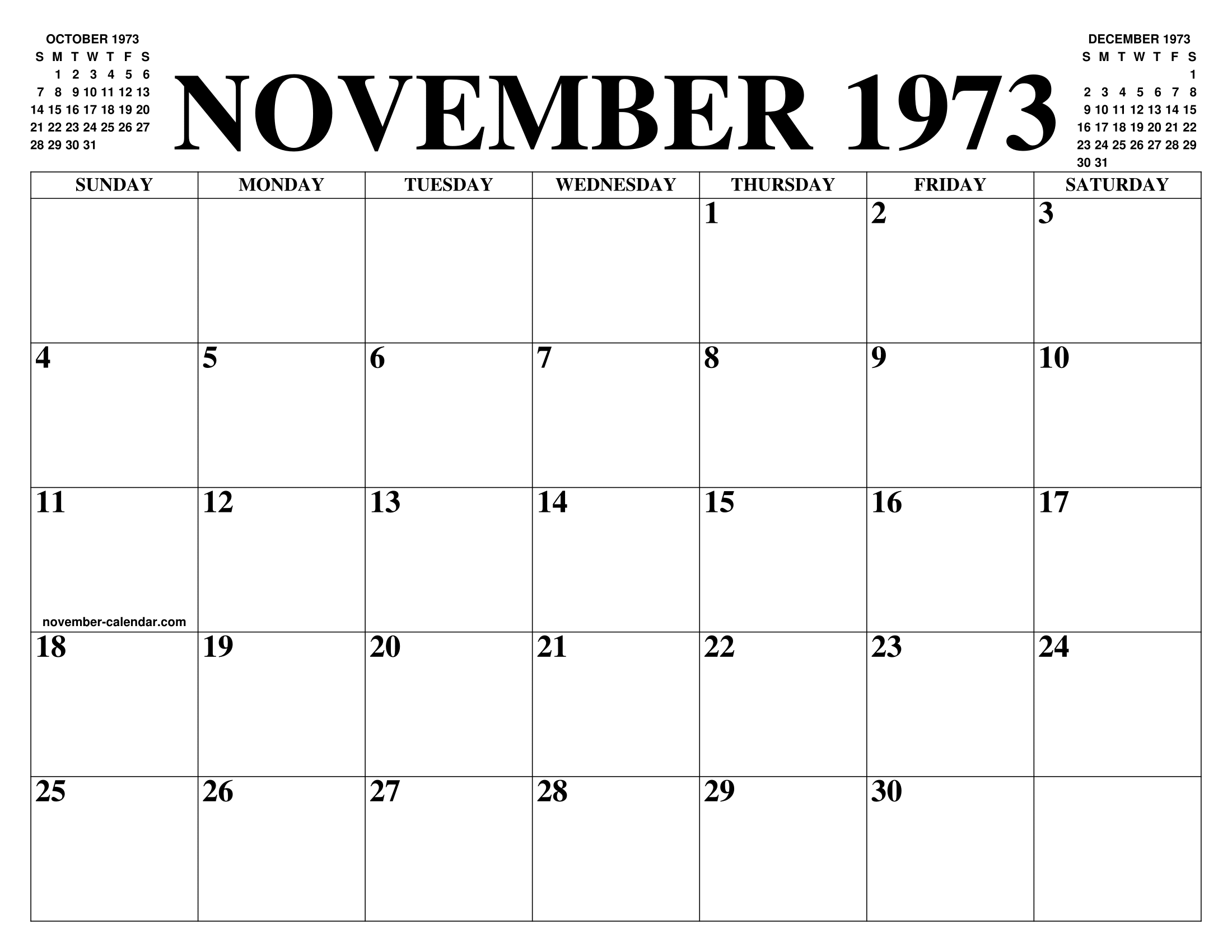 Calendario 1973.November 1973 Calendar Of The Month Free Printable November