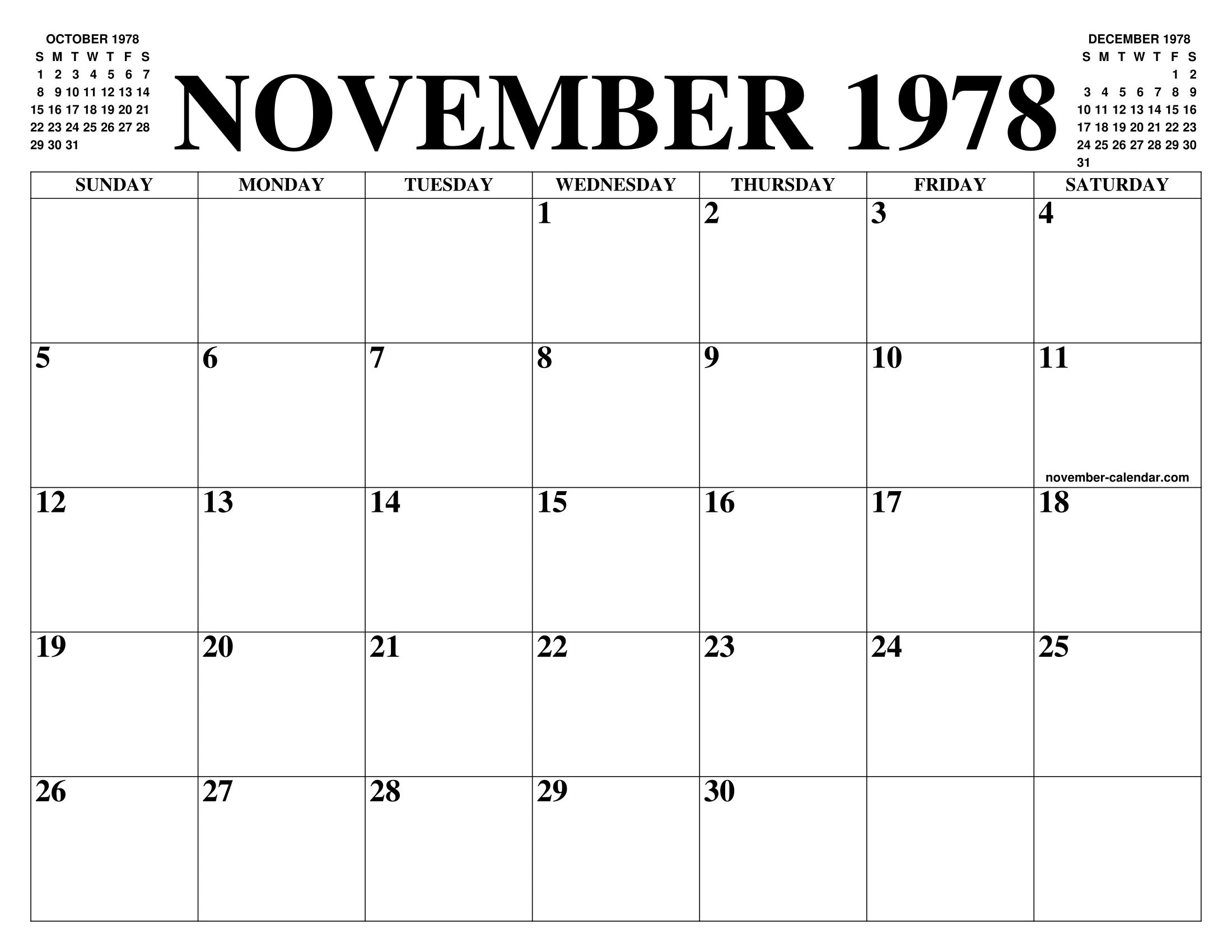 Calendario 1978.November 1978 Calendar Of The Month Free Printable November