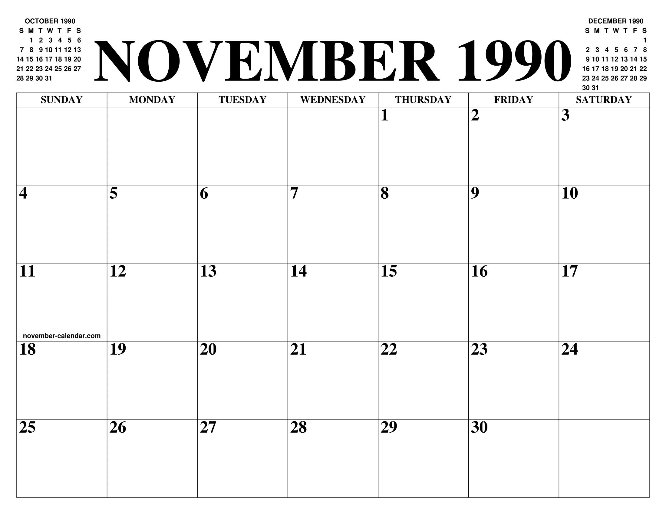 1990 Calendar.November 1990 Calendar Of The Month Free Printable November