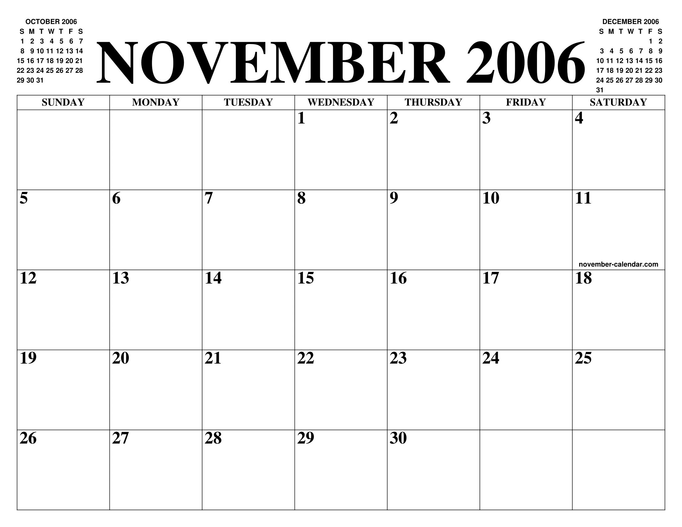November 2006 Calendar Of The Month Free Printable November