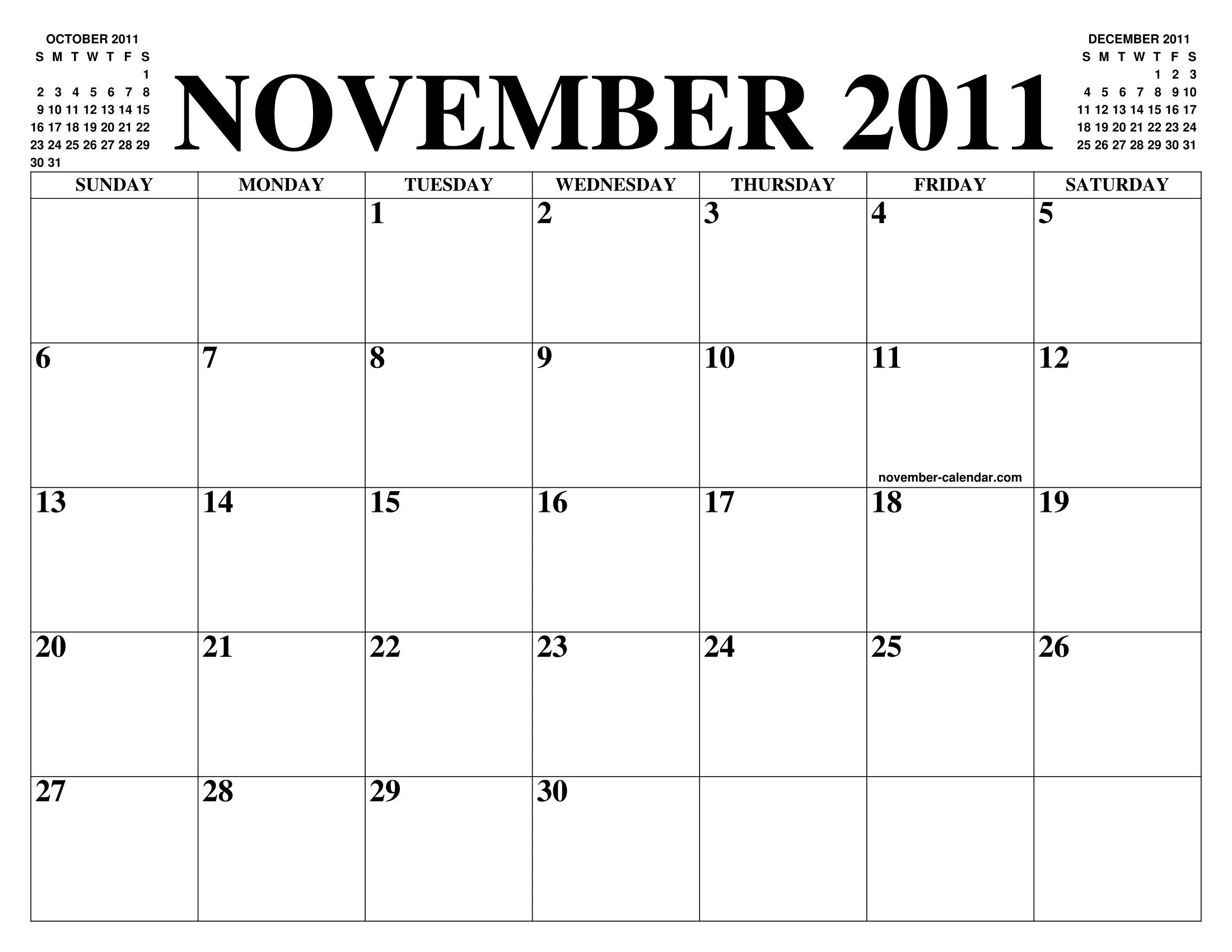 2011 Calendario.November 2011 Calendar Of The Month Free Printable November