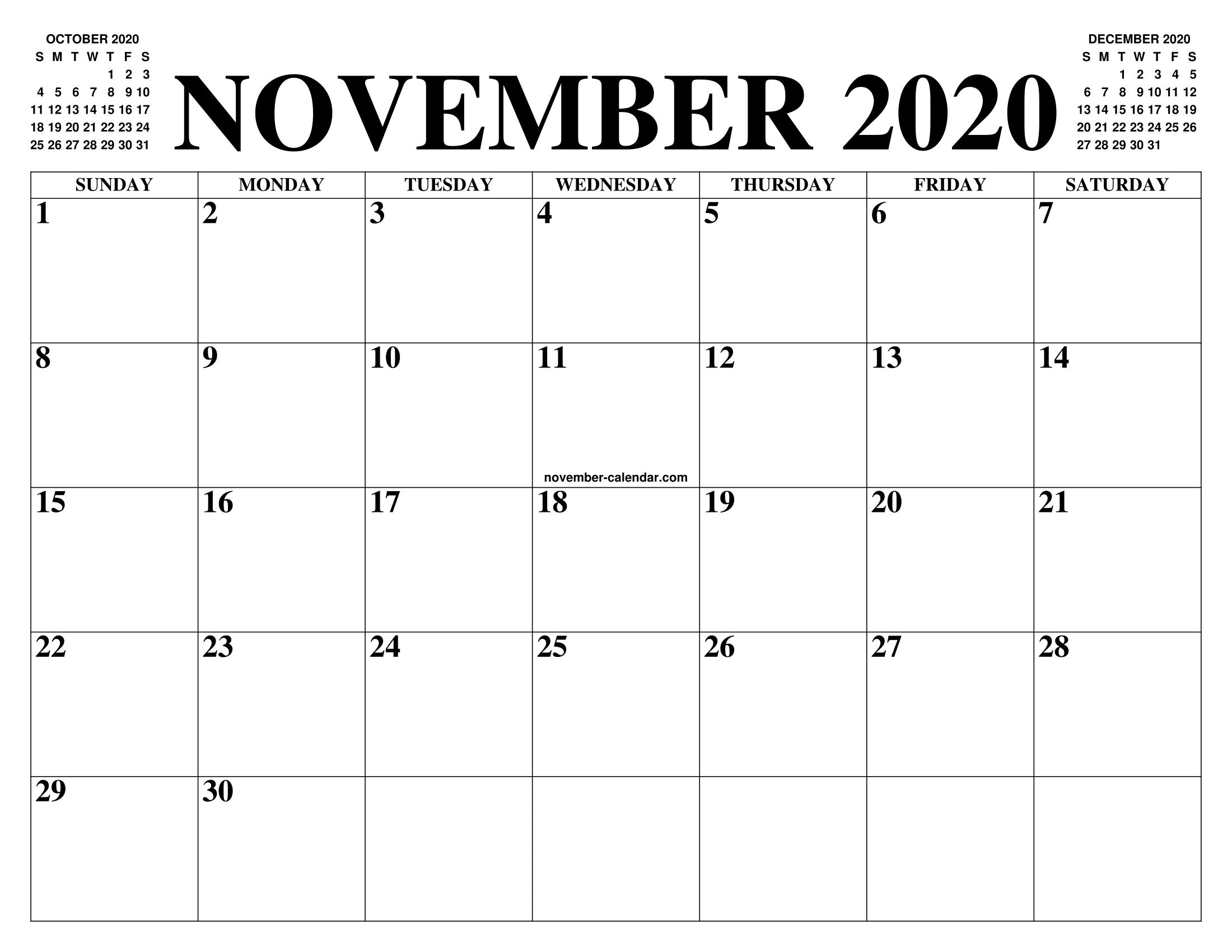 Blank Calendar November 2020.November 2020 Calendar Of The Month Free Printable November