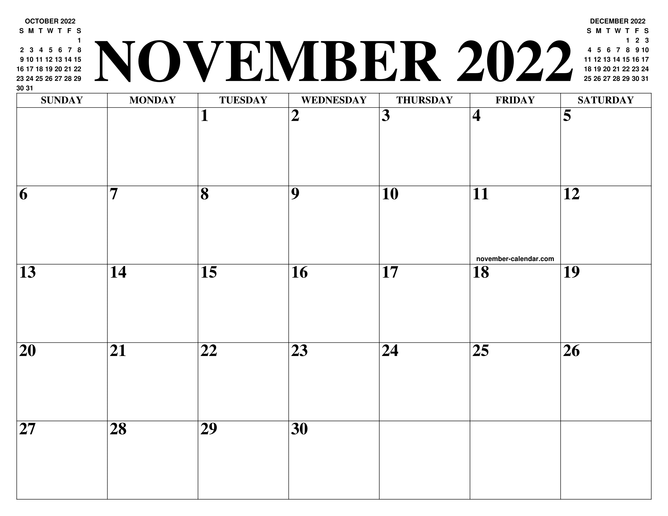 image regarding 2022 Calendar Printable known as NOVEMBER 2022 CALENDAR OF THE Thirty day period: No cost PRINTABLE NOVEMBER